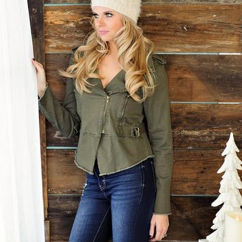 * Working Overtime Frayed Military Jacket - Olive