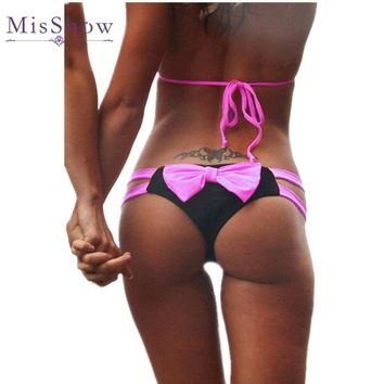 2017 Sexy Big Bowknot Patchwork Thong Bikini Bottom T-Back Women Swimsuit String Beachwear Swimwear Female Bathing Suit
