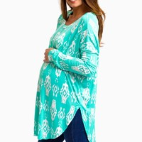Mint Green Diamond Tribal Long Sleeve Maternity Top