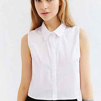 BDG Sleeveless Collared Top- White