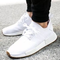 Adidas NMD R1 PK Primeknit Triple White GUM PACK Nomad BY1888 Men's Shoes Sz 8