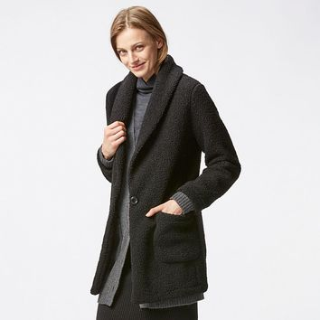 WOMEN TEDDY FLEECE LONG SLEEVE COAT | UNIQLO