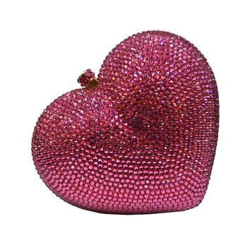 Pink I Heart You Rhinestone Clutch Bag