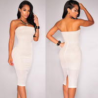 White Laser Cut Strapless Bodycon Dress