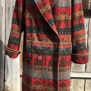 Indian Blanket Coat 100% Wool Ann Taylor Vintage