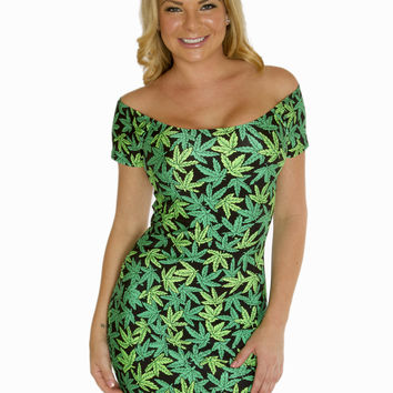 Marijuana Print Bodycon Clubwear Dress