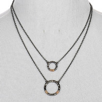 NECKLACE / HAMMERED METAL RING / DOUBLE LAYER / TWO TONE / WRAPAROUND WIRE / LINK / CHAIN / 16 INCH LONG / 2 INCH DROP / NICKEL AND LEAD COMPLIANT