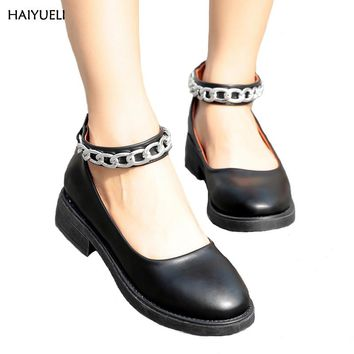 HAIYUELI Oxford women fashion Metal chain women's shoes tassel Straps casual Round head oxford shoes for women