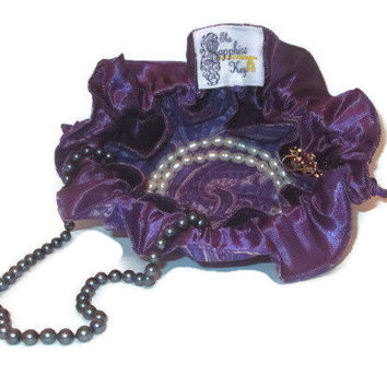 Drawstring Travel Jewelry Pouch / Satchel - Purple Paisley with Purple Satin
