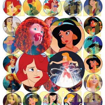 40 Princess Disney Digital Party Stickers Circles size 1'' and 1.5'' sheet A4 (8.5''x11'') Bottle Cap images Cupcake Toppers Disney Princess
