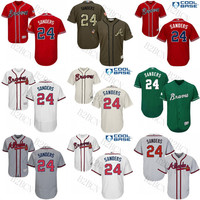 Men's/Youth Green grey red cream Celtic 24 Deion Sanders Authentic Jersey #24 Majestic Atlanta Braves Flexbase Collection