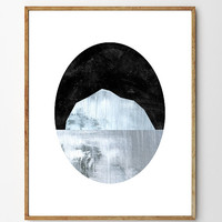 Ice Waters - Iceberg Art Print, Iceberg Painting, Home Decor, Nature Art, Collage Art, Arctic, Mountain Art, Giclee
