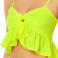 Neon Green Bow Knot Ruffle Hem Crop Top