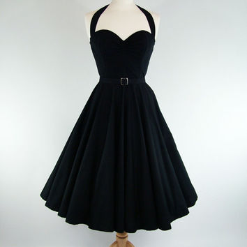 MADE TO MEASURE Black Boned Full Circle Dress by GinAndSinEtsy