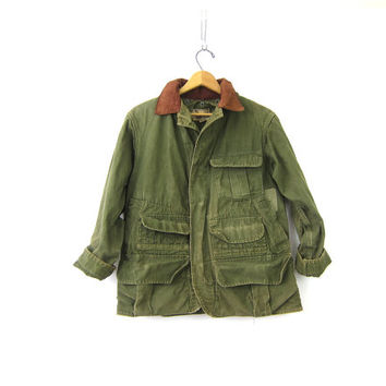 Mens Army Green vintage Hunting Coat Sportswear Canvas Jacket Antique Hinson Bodyguard Rugged Game Pocket Mens 40 Small Medium