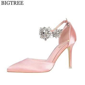 BIGTREE  new Women Pumps Rhinestones High-heeled Shoes Thin Pink High Heel Shoes Hollow Pointed Stiletto Elegant Wedding shoes