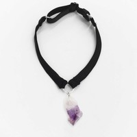 Luxe Black Quartz Choker — Amethyst, Rose or Clear Quartz with Silk or Velvet Band