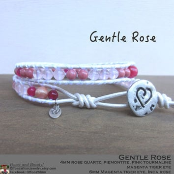 Gentle Rose Handmade Leather Wrap Japanese Powerstone Layer Bracelet made by Off on a Whim in Japan - pink precious stone jewellry