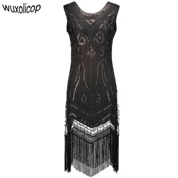 Women Black Vintage Gatsby Flapper Dress Art Sequin Beaded Fringe Party Dress For Winter Christmas