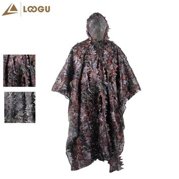 LOOGU Hunting clothes New  Bionic Camouflage Rain Poncho Style Ghillie Suits Sniper Birdwatch Airsoft Clothing Jacket and Pants