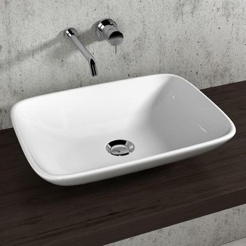 Gio White 21 in. Ceramic Vessel Sink Bowl Above Counter Sink Lavatory Washbasin