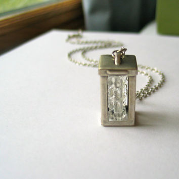 silver lantern necklace // light box // by ReneeLoughlinDesigns