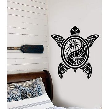 Vinyl Wall Decal Sea Turtle Yin Yang Buddhism Yoga Studio Stickers Unique Gift (1315ig)
