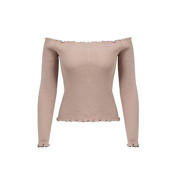 Moving My Body Long Sleeve Ribbed Off The Shoulder Pattern Lettuce Edge Ruffle Pullover Knit Sweater - 2 Colors Available