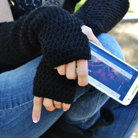 Fingerless gloves, long arm warmers, texting gloves, crochet arm warmers in black