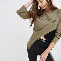 Nicce London | Nicce London Asymmetric Sweatshirt With Mesh Layer & Logo Embroidery at ASOS