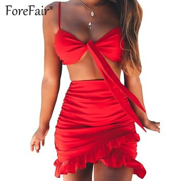 Forefair Chic 2 Piece Set Women Summer Skirt Suits Sexy Backless Bow Knot Camisole Vest Bra Crop Top And Ruffles Hem Skirt Sets