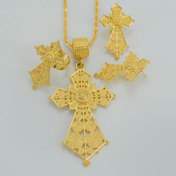 Ethiopian Traditio Big Cross Jewelry sets Necklaces/Earrings/Ring Gold Plated African Religion Eritrea Catholic Crosses  #053906