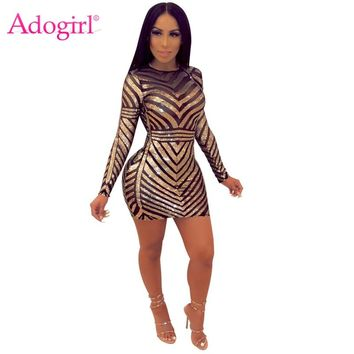 Adogirl Sequins Sheer Mesh Backless Bodycon Club Dress O Neck Long Sleeve Sheath Mini Evening Party Dresses Women Fashion Outfit