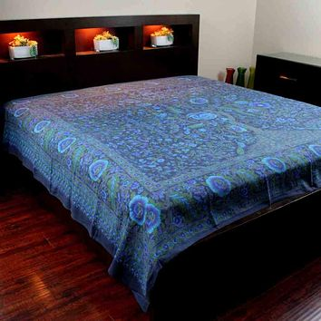 Cotton Tree of Life Tapestry Tablecloth Bedspread Indigo Blue - Twin, Full