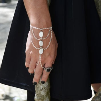 Boho Slave Bracelet Hand Bracelet Piece Ring Hipster Silver Chain Bohemian Boho Three Ivory Mother of Pearl Bead  Chevron Hand Jewelry