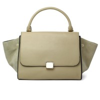 Suede Nude Wing Tote Bag with Zipper Fastening