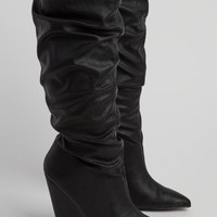 Black Cone Heel Scrunched Knee Boot By Qupid