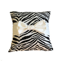 """Black Zebra Print 18"""" x 18""""  Pillow Cover with bow"""
