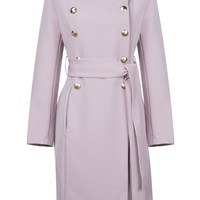 Honey Couture HARRIET Pink Long Button Tie Up Coat Jacket