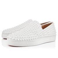 Cl Christian Louboutin Roller-boat Men's Flat White/white Leather Classic Shoes 31204903047 - Best Online Sale