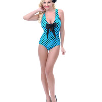 SALE! 1950s Style Turquoise & Black Bow Tank Swimsuit