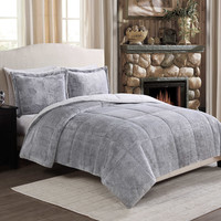 Frosted Fur Reversible Comforter Set
