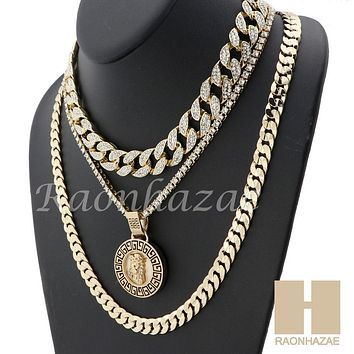 "MENS 14K GOLD PT JESUS FACE ICED OUT MIAMI CUBAN 16""~30"" CHOKER TENNIS CHAIN S32"