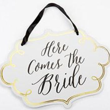 Classic Gold Foil Here Comes the Bride Sign