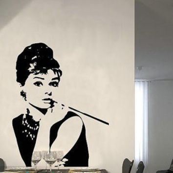 Audrey Hepburn Wall Decal, Wall Sticker for Living Room, Bedroom