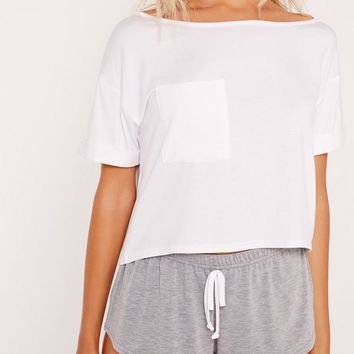 Missguided - White Front Pocket Pajama Set