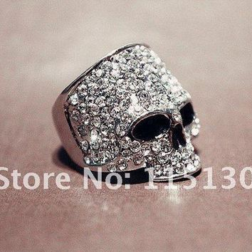 Vintage Europe A Silver Colored Simulated Diamond Skull Rings For Men Rock Punk Gold Ring Fashion Jewelry Free Shipping