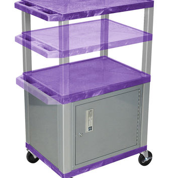 H. WILSON Rolling Multi purpose Storage Utility Cart with Lockable Stainless Steel Cabinet Purple Nickel Legs