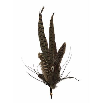 Deluxe German Hat Pin: Brown Feathers w/ Gold Casing