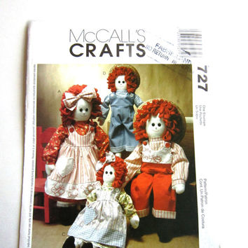 Raggedy Dolls McCalls Craft Pattern 3139 or 727, 16 and 22 inch Rag Doll Pattern, Doll Clothes Pattern, Uncut Factory Folds, McCalls Pattern